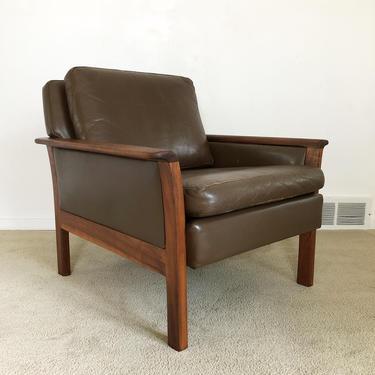 Danish modern teak leather arm lounge chair Hans Olsen style mid century by TripodModern