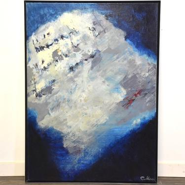 """1995 Abstract Blues Painting by Gerhard Van de Rhoer Titled """"The point of no return"""" by mixedmodern1"""