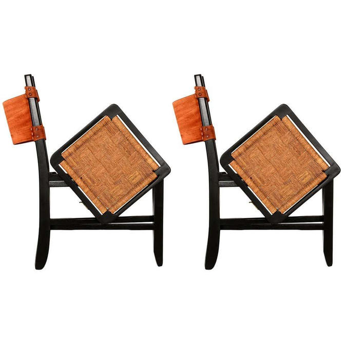 Clara Porset Mexican Modernist Cane Folding Chairs 1950s by AMBIANIC