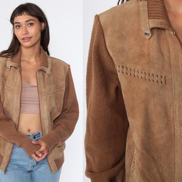 Suede Sweater Jacket 70s Leather Coat Hippie Jacket Boho Brown 1970s Bohemian Knit Vintage Festival Zip Up Medium by ShopExile