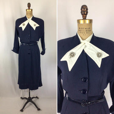 Vintage 40s dress   Vintage navy rayon dress   1940s button front belted dress by BeeandMason