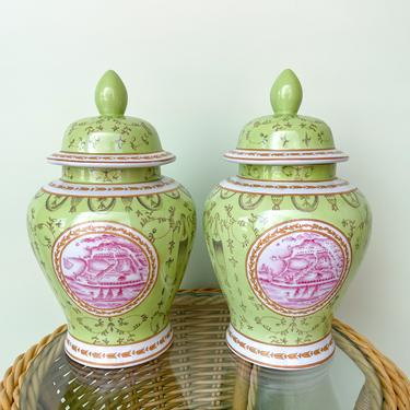 Pair of Pink and Green Ginger Jars