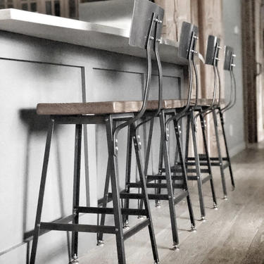 """Reclaimed Wood Chair/Counter/Bar height stool. Offered in 3 heights 18"""" table, 25"""" counter, 30"""" bar.  You choose size and finish. by UrbanWoodGoods"""