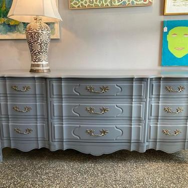 """9 drawers to store! Gray French provincial dresser. 74.5"""" x 20"""" x 32"""""""