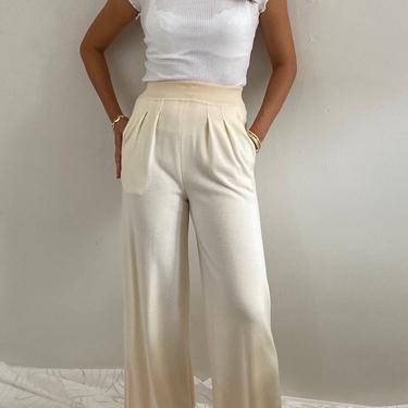 90s Escada wool knit palazzo pants / vintage ivory wool knit Escada pleated easy lounge wide leg sweater pants | S M by RecapVintageStudio