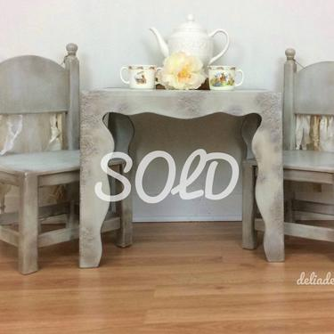 This piece is SOLD  Childs table with two chairs by DeliaDesignsStudio