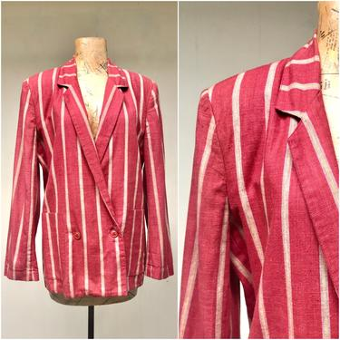 """1980s Rust Striped Cotton WilliWear Jacket, Willi Smith Double Breasted Blazer, Small 34"""" Bust by RanchQueenVintage"""