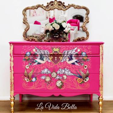 Sassy and sexy hot pink dresser, chest, vintage, hot pink, antique, hand painted. by LaVidaBellaDesign