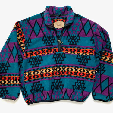 Vintage WOOLRICH Southwestern Fleece Jacket / Pullover / 1/2 Zip ~ M ~ Made in USA ~ Tribal / Aztec Print by SparrowsAndWolves