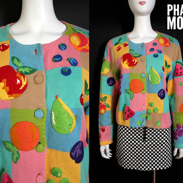 Quirky Vintage 90s Fruity Michael Simon Novelty Felt Fruit Cardigan Sweater by RETMOD