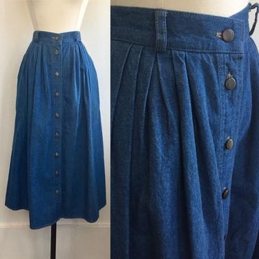 Vintage 80's DENIM MIDI Pleated Skirt / Silver Front Buttons + Pockets + Belt Loops / Elastic Back by CharmVintageBoutique