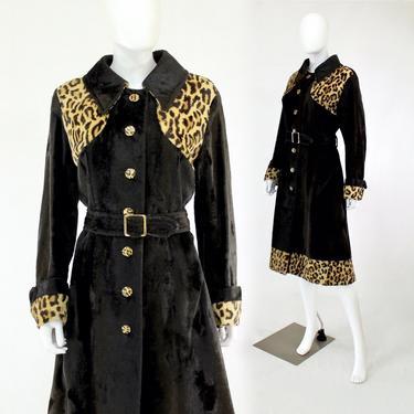 1970s Faux Leopard Print Coat - 1970s Trench Coat - 70s Leopard Print Coat - Leopard Print Trench Coat - Vintage Leopard Coat | Size Medium by VeraciousVintageCo
