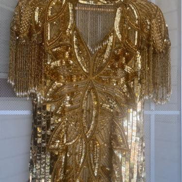 Vintage Gold Sequin beaded gown, heavily embellished full length dress, flapper dress, sequin gala gown  small by ShopRVF
