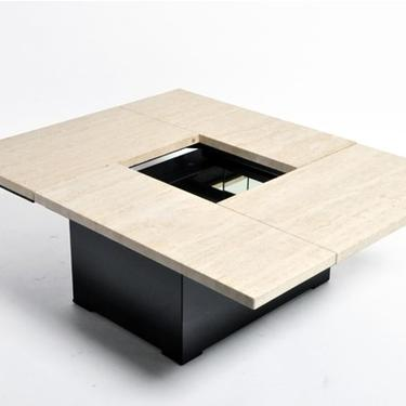 French Coffee Table with Movable Travertine Marble Top and Metal Base by Paul Michel | c. 1970