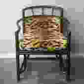 black bamboo + animal print chair by Milling Road for Baker Furniture