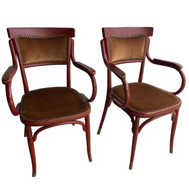 Pair of Red Thonet Style Arm Chairs