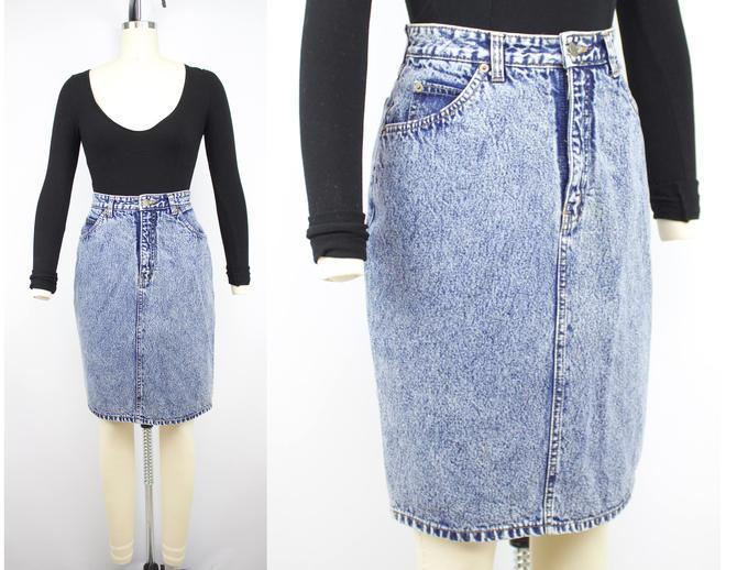 4350bc3b49 Vintage 80's High Waisted Acid Wash Denim Skirt / 1980's ...