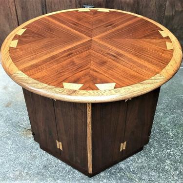 Mid Century Lane acclaim refinished  Round Hexagon end table cabinet