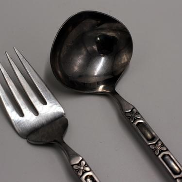 vintage mid century serving fork and ladle/stainless steel by suesuegonzalas
