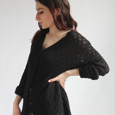 Black Acrylic Cardigan 1970's fits S - L Lightweight Spring Sweater Bobbie Brooks by BeggarsBanquet
