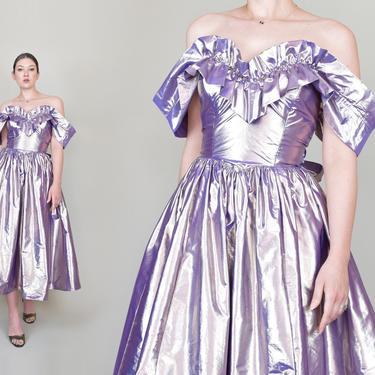 80's Gunne Sax Metallic Party Dress   Vintage Gunne Sax Dress   Metallic Gunne Sax Dress by WisdomVintage