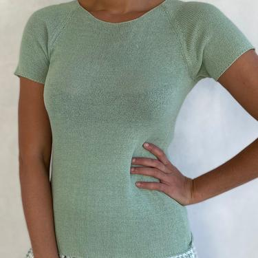 90s Vintage SAKS FIFTH AVE Knit Top - Light Pastel Mint Green Couture Short Sleeve Shirt by LittleSparkVintage