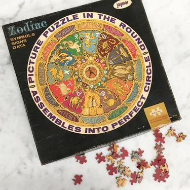 """Vintage Zodiac Picture Puzzle Retro 1970s Jaymar + Astrology + Over 650 Interlocking Pieces + Symbols +  19"""" Circular Puzzle + Board Game by RetrospectVintage215"""