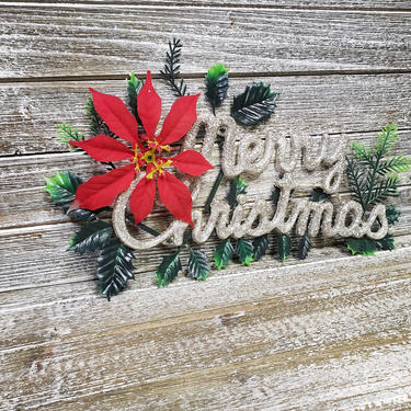 Vintage Merry Christmas Sign, Poinsettia, Retro Silver Glitter Christmas Wall or Door Hanger, Holiday Window Decoration, Vintage Christmas by AGoGoVintage