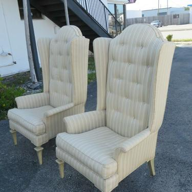 Hollywood Regency Extra Tall Painted Pair of Side Wing Chairs 2103