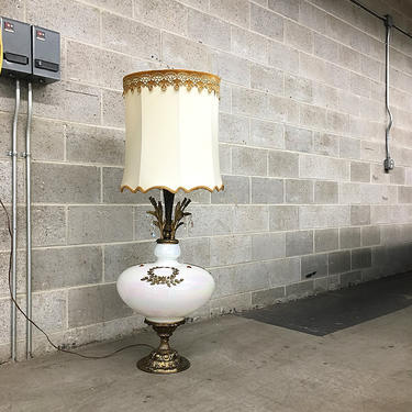 LOCAL PICKUP ONLY Vintage Metal and Glass Table Lamp Retro 1960's Massive Ornate Hollywood Regency Tall White Floor Lamp with Barrel Shade by RetrospectVintage215