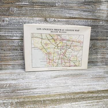 Vintage Jigsaw Puzzle, Los Angeles Freeway System Map Jigsaw Puzzle, 16×20, Gameophiles Unlimited, 7213, Rand McNally & Co., Vintage Toys by AGoGoVintage