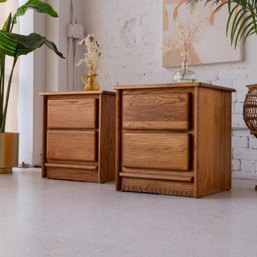 Pair of Boho Oak nightstands