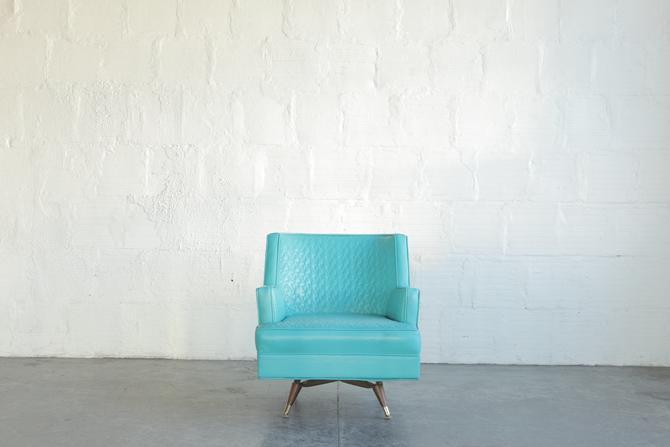 Blue Mid Century Swivel Lounge