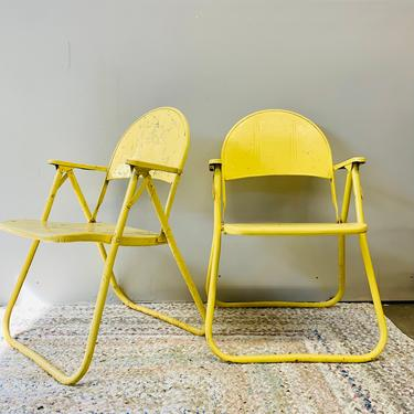 Vintage Yellow Metal Patio Chairs | Outdoor Furniture | Chairs With Arms | Folding Chairs | Patio Set | Outdoor Seating by PiccadillyPrairie