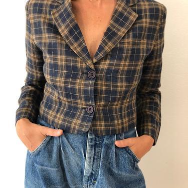 Vintage Karen Kane Linen Checkered Jacket by VintageRosemond