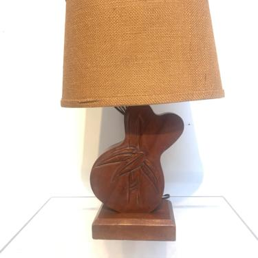 Carved Bamboo Design Hawaiian Table Lamp. c 1940s Bamboo Design Monkey Pod Mid Century Vintage by XcapeVintage