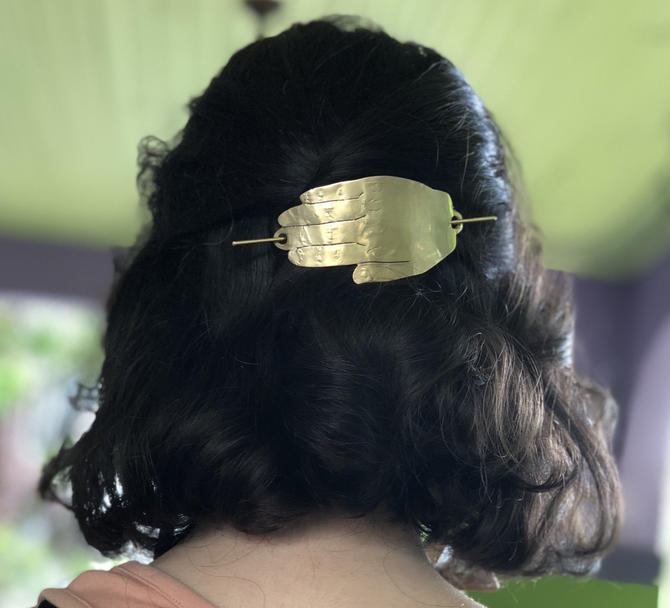 Solid Brass Hand Hair Slide by RachelPfefferDesigns