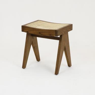 Pierre Jeanneret Stool Walnut Original Weave Finish by ShopInteriorTonic