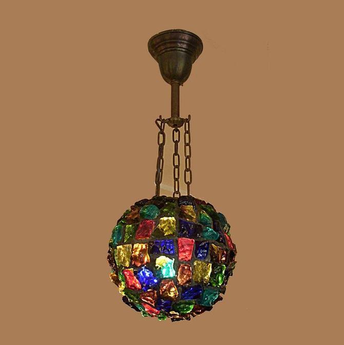 Turn of the century chunk glass globe hanging fixture