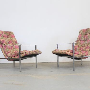 Pair of Mid-Century Modern Milo Baughman Style Chrome Scoop Seat Lounge Chairs by AnnexMarketplace