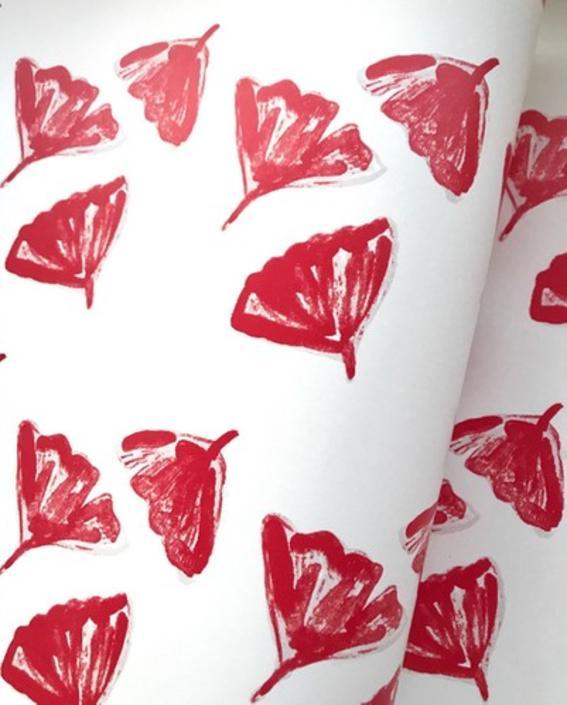 Ginkgo Love Wallpaper in Red