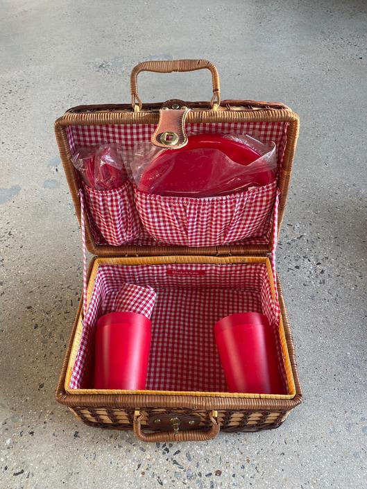 Vintage 90s Petite 2 Tone Wicker Picnic Basket by SpeakVintageDC