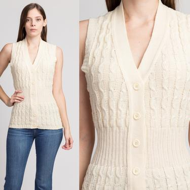 70s Cream Knit Sleeveless Sweater Top - Small to Medium   Vintage Button Up Boho Vest by FlyingAppleVintage