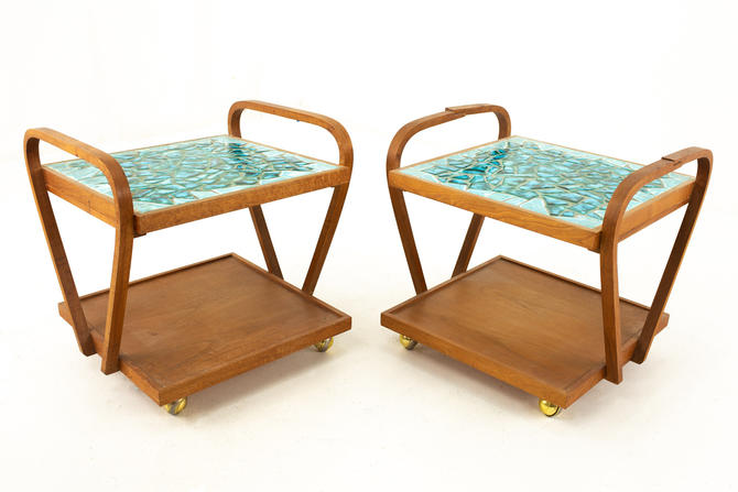 John Keal for Brown Saltman Style Mid Century Mosaic Side End Table Cart - mcm by ModernHill
