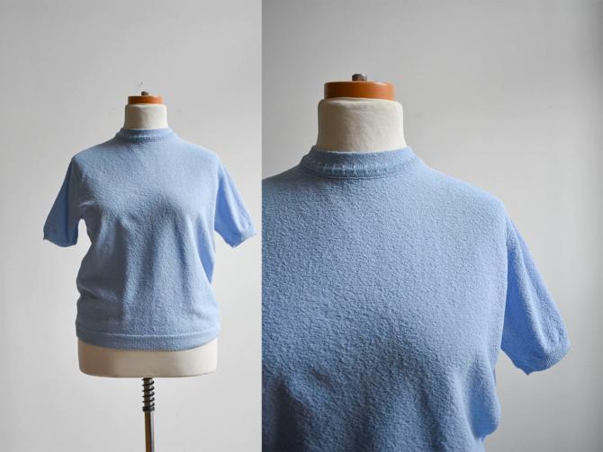 1960s Blue Knit Blouse by milkandice