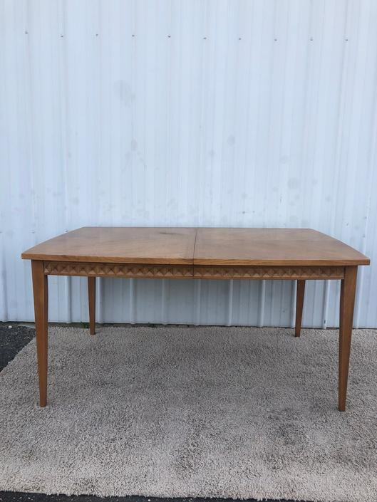 Vintage 1970s Pecan Dining Table with One Leaf