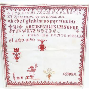 1890 Alphabet Sampler, Large 20 Inch Antique Needlework by Elvira Fontanell, Vintage Red and White Cross Stitch Needlework on Linen by exploremag