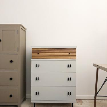 Light gray chest of drawers with fluted walnut top drawer-local pick up only Richmond, VA by emandwitdesign