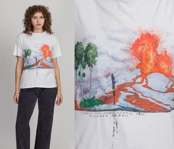 80s Hawaii Volcanoes National Park T Shirt - Men's Small, Women's Medium | Vintage Distressed Unisex White Graphic Tourist Tee by FlyingAppleVintage