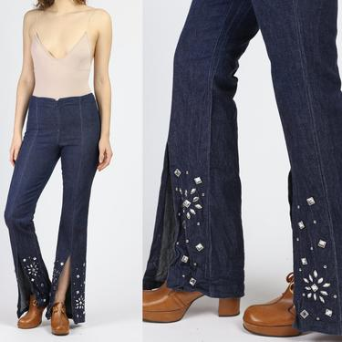 90s Bisou Bisou Bedazzled Split Front Flared Jeans - Small   Blue High Waisted Denim Jeweled Pants by FlyingAppleVintage